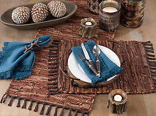 Saro Lifestyle Chindi Design Leather Placemat (Set of 4), , rollover