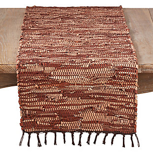 Saro Lifestyle 100% Leather 16x72 Runner with Chindi Design, , large
