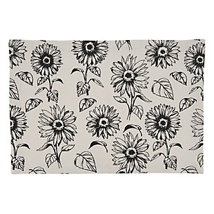 Saro Lifestyle Cotton Placemat with Sunflower Design (Set of 4), , large