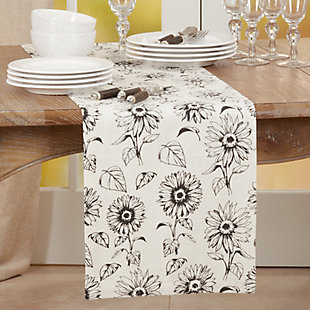 Saro Lifestyle 14x72 Dining Table Runner with Sunflower Design, , rollover