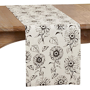 Saro Lifestyle 14x72 Dining Table Runner with Sunflower Design, , large