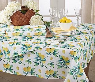 Saro Lifestyle Lemon Print 16x72 Table Runner, , rollover