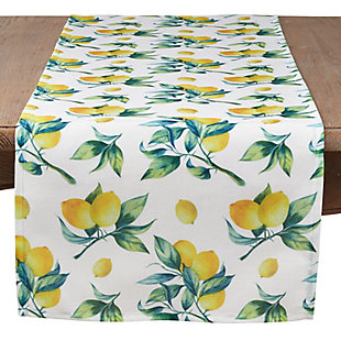 Saro Lifestyle Lemon Print 16x72 Table Runner, , large
