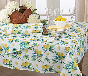 "Saro Lifestyle 55"" Square Table Topper with Lemon Print Design, , rollover"