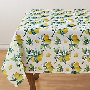 "Saro Lifestyle 55"" Square Table Topper with Lemon Print Design, , large"