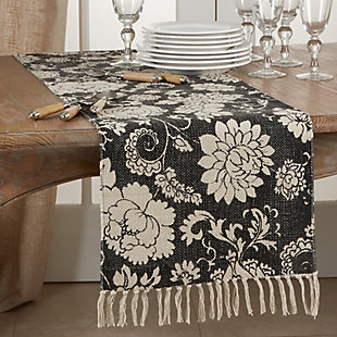 Saro Lifestyle Fringed 16x72 Table Runner with Floral Design, , rollover