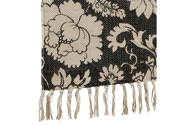 Saro Lifestyle Fringed 16x72 Table Runner with Floral Design, , large