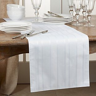 Saro Lifestyle Jacquard 16x108 Table Runner with Striped Design, White, rollover
