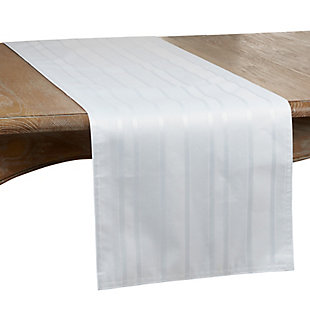 Saro Lifestyle Jacquard 16x108 Table Runner with Striped Design, White, large