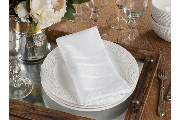 Saro Lifestyle Jacquard Table Napkin with Stripe Design (Set of 12), , large