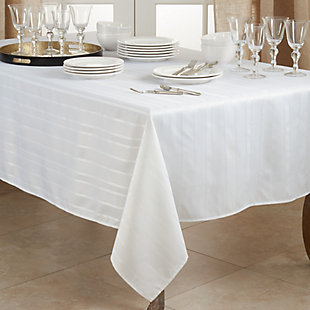 Saro Lifestyle Jacquard 50x70 Tablecloth with Stripe Design, White, rollover
