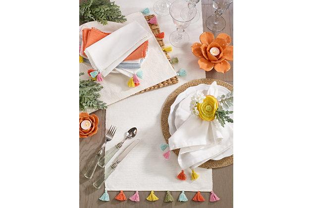 Saro Lifestyle Fiesta Tassel Placemat (Set of 4), , large