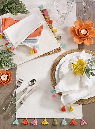 Saro Lifestyle Fiesta Tassel Table Napkin (Set of 4), , rollover