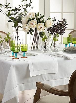 "Saro Lifestyle Classic Hemstitch Border 60"" Square Tablecloth, White, rollover"