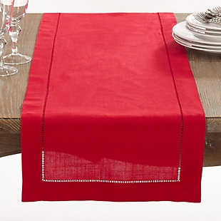 Saro Lifestyle Classic Hemstitch Border 16x120 Table Runner, Red, large