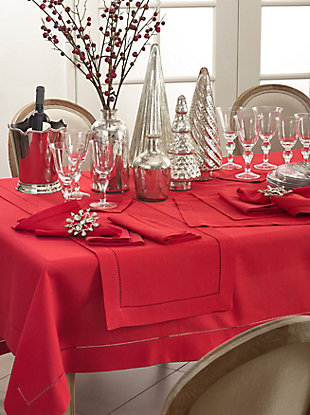 """Saro Lifestyle Classic Hemstitch Border 60"""" Square Tablecloth, Red, rollover"""