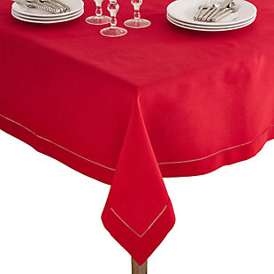 "Saro Lifestyle Classic Hemstitch Border 60"" Square Tablecloth, Red, large"