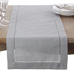 Saro Lifestyle Classic Hemstitch Border 16x120 Table Runner, Gray, large