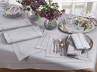 "Saro Lifestyle Classic Hemstitch Border 60"" Square Tablecloth, Gray, rollover"