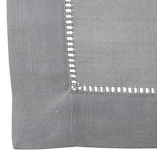 "Saro Lifestyle Classic Hemstitch Border 60"" Square Tablecloth, Gray, large"