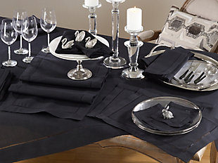 "Saro Lifestyle Classic Hemstitch Border 60"" Square Tablecloth, Black, rollover"