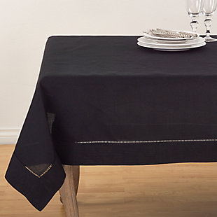 "Saro Lifestyle Classic Hemstitch Border 60"" Square Tablecloth, Black, large"
