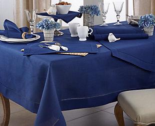 "Saro Lifestyle Classic Hemstitch Border 60"" Square Tablecloth, Blue, rollover"