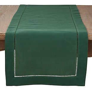 Saro Lifestyle Classic Hemstitch Border 16x120 Table Runner, Green, large