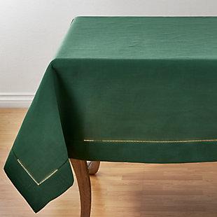 "Saro Lifestyle Classic Hemstitch Border 60"" Square Tablecloth, Green, large"