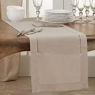 Saro Lifestyle Classic Hemstitch Border 16x120 Table Runner, Brown, rollover