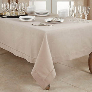 """Saro Lifestyle Classic Hemstitch Border 60"""" Square Tablecloth, Brown, rollover"""
