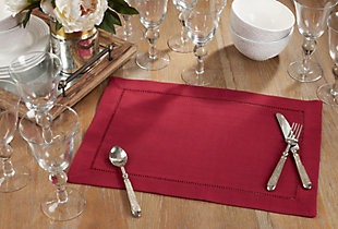 Saro Lifestyle Classic Hemstitch Border Placemat (Set of 12), Red, rollover