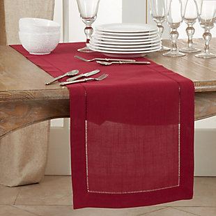 Saro Lifestyle Classic Hemstitch Border 16x120 Table Runner, Red, rollover