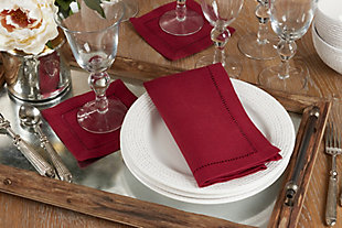 Saro Lifestyle Classic Hemstitch Border Dinner Napkin (Set of 12), Red, rollover