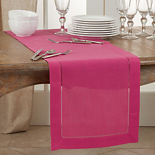 Saro Lifestyle Classic Hemstitch Border 16x120 Table Runner, Pink, rollover