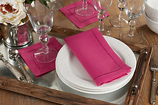 Saro Lifestyle Classic Hemstitch Border Dinner Napkin (Set of 12), Pink, rollover