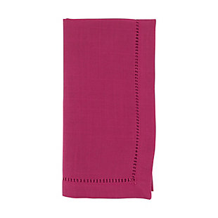 Saro Lifestyle Classic Hemstitch Border Dinner Napkin (Set of 12), Pink, large