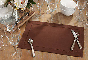 Saro Lifestyle Classic Hemstitch Border Placemat (Set of 12), Brown, rollover
