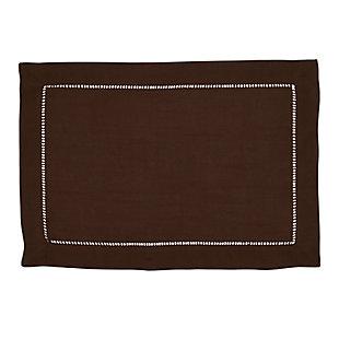 Saro Lifestyle Classic Hemstitch Border Placemat (Set of 12), Brown, large