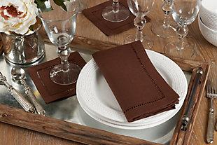 Saro Lifestyle Classic Hemstitch Border Dinner Napkin (Set of 12), Brown, rollover