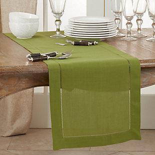 Saro Lifestyle Classic Hemstitch Border 16x120 Table Runner, Green, rollover