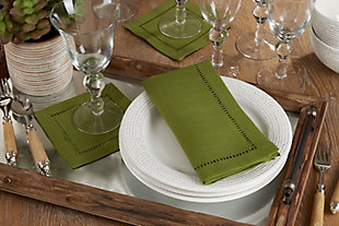 Saro Lifestyle Classic Hemstitch Border Dinner Napkin (Set of 12), Green, rollover
