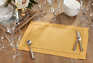Saro Lifestyle Classic Hemstitch Border Placemat (Set of 12), , rollover