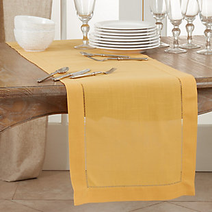 Saro Lifestyle Classic Hemstitch Border 16x120 Table Runner, Yellow, rollover