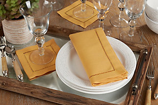Saro Lifestyle Classic Hemstitch Border Dinner Napkin (Set of 12), Yellow, rollover