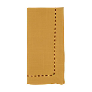 Saro Lifestyle Classic Hemstitch Border Dinner Napkin (Set of 12), Yellow, large