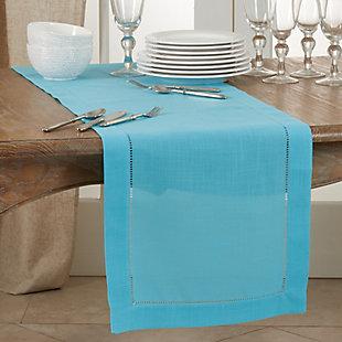 Saro Lifestyle Classic Hemstitch Border 16x120 Table Runner, Blue, rollover