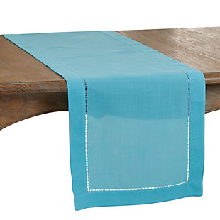 Saro Lifestyle Classic Hemstitch Border 16x120 Table Runner, Blue, large
