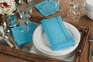 Saro Lifestyle Classic Hemstitch Border Dinner Napkin (Set of 12), Blue, rollover
