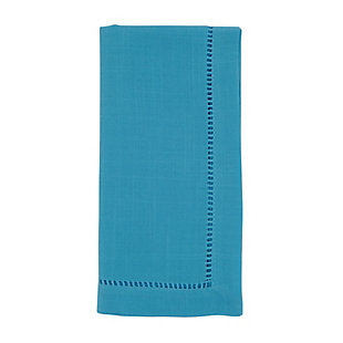 Saro Lifestyle Classic Hemstitch Border Dinner Napkin (Set of 12), Blue, large